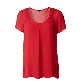 Belle Curve Pleat Front Top - Red