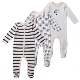 3 Pack Printed Coveralls - Little Heart