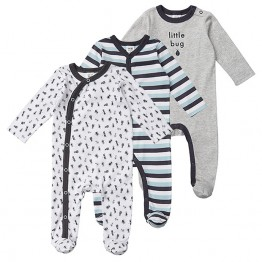 3 Pack Printed Coveralls - Little Bug