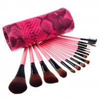 15 pcs Soft Synthetic Hair Beauty Makeup Brush Black Sets with Snake Pattern Case