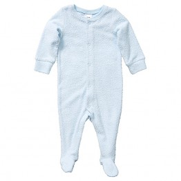 Baby Stretch Terry Coverall - Light Blue