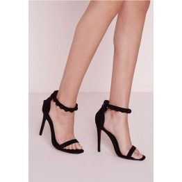 Button Detail Barely There Heeled Sandals Black